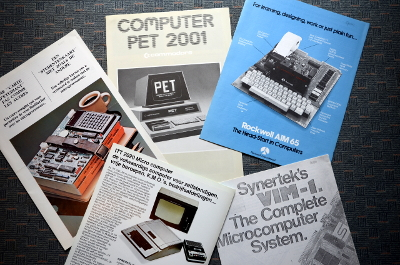 Brochures for TI TM990/189, Commodore PET, Rockwell AIM 65, Synertek VIM-1 and ITT 2020 Micro Computer
