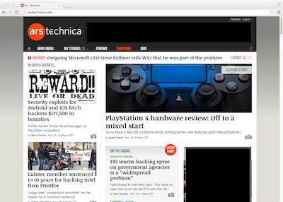 Ars Technica Homepage - 2013-11-16, 11h00 EST
