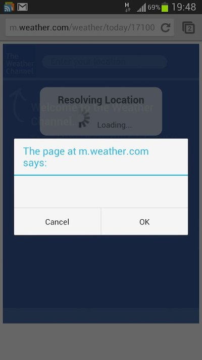 The page at m.weather.com says... nothing