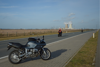 My BMW R1100S near the nuclear power plant in Doel, Belgium