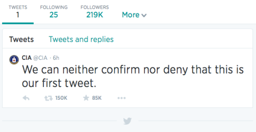 First tweet of the CIA on June 6th, 2014.