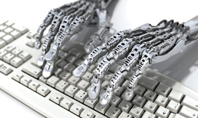 "Once it was monkeys doing the typing, now it's robots. Photograph: Getty Images (Click the image to go to the site of The Guardian, for an article  titled ""Could robots be the journalists of the future?"""