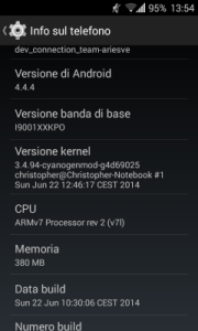 Sample screenshot of CM11 on the SGS+