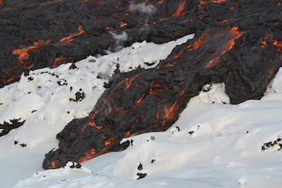 Pahoehoe lava on snow. Picture by Benjamin R. Edwards