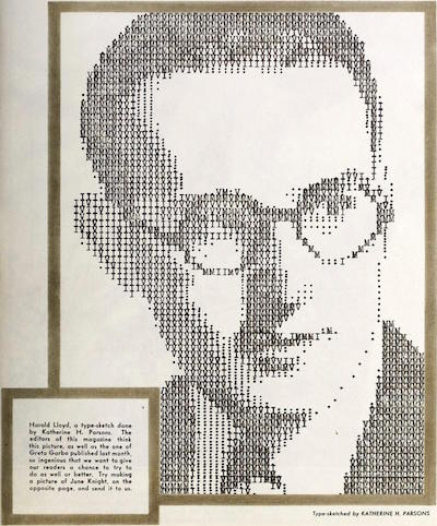 """Harold Lloyd, a type sketch done by Katherine H.Parsons"""