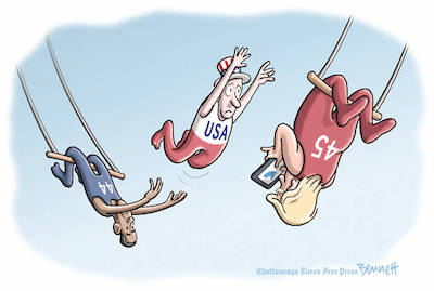 """The Transfer (by Clay Bennett on the Times Free Press in Chattanooga, TN)"