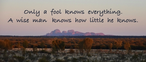 Only a fool knows everything. A wise man knows how little he knows.